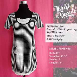 Black & White Stripes Long Top/Mini Dress