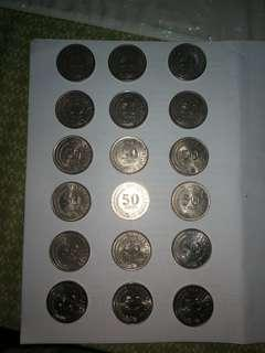 18 pc of Singapore First series 50Cent coins