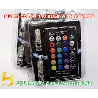 (9) Multi-color LED T10 Bulb with remote