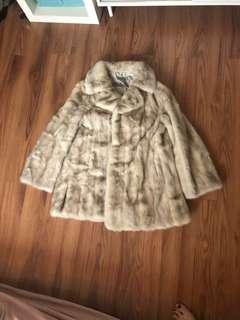 VINTAGE Pastel Mink REAL Fur Coat