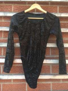 Crushed velvet body suit
