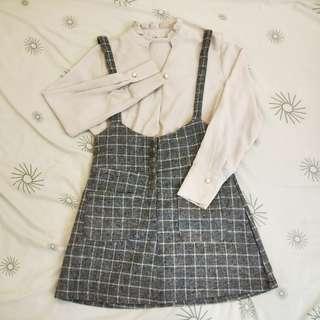 (有穿搭)厚款灰色格子吊帶短裙