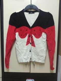 韓國製紅黑蝴蝶冷外套
