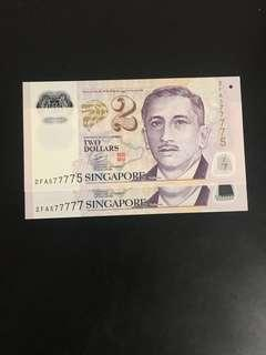 Singapore $2 banks notes  ( nice numbers)