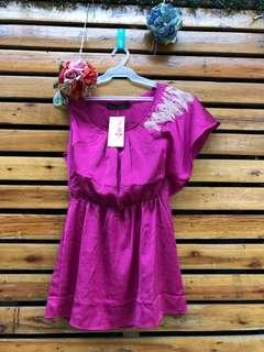 People are people asymmetric fuchsia dress