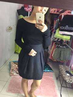 Office wear black long sleeve backless
