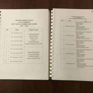 VJC H2 Chemistry Papers with Detailed Answers (CT & Mid-Terms)