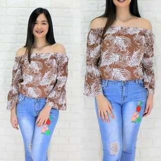 Leafy longsleeve off shoulder Korean clothing Free size (M to large) 260 👉looking for more active and loyal resellers 👉all in one shop 👉direct and legit supplier since 2012