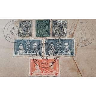 GEORGE V & VI COMBO - 1937 - CORONATION STAMP - SINGAPORE -> INDIA - Postal Cover / History - ml366