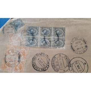 MULTIPLE STAMP FRANKING -  IPOH -> INDIA - Postal Cover - 1936 - Sultan Stamp - ml367
