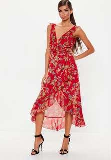 Red floral drill midi dress