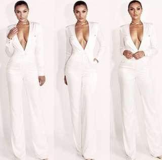 Jlux White Satin Jumpsuit