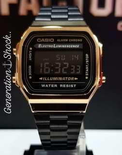 BEST🌟SELLING : 1-YEAR OFFICIAL WARRANTY : CASIO 50M SWIMMING SPORTS WATCH in TOUGH STAINLESS STEEL in BLACK-GOLD : Officially by GSHOCK JAPAN COMPANY : BEST for ROUGH USERS even Kids & Ladies : CASIO MODEL:  A168WEGB-1B / GSHOCK / G-SHOCK / BABYG / BABY-G