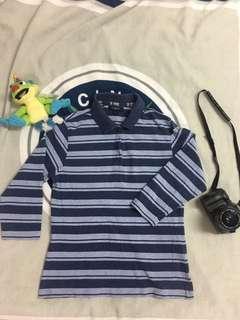 🚚 古著Burberry藍色條紋polo衫👕
