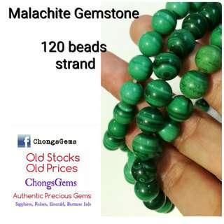 64 beads strand of Malachite Gemstone necklace