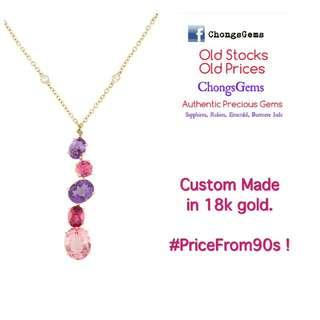 Rubies Amethyst Topaz Sapphire Necklace making almost 50 years