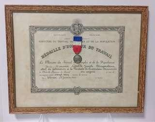 Framed 'Republique Francaise' Medal Of Honor with Authentic Pin Medal