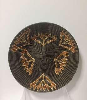 Vintage Weaved Basket Bowl; probably African.