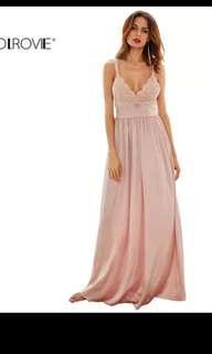 Nude pink long dress M