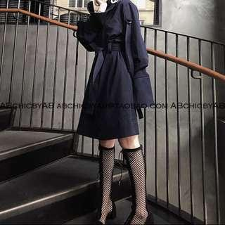 Navy blue oversized chic dress