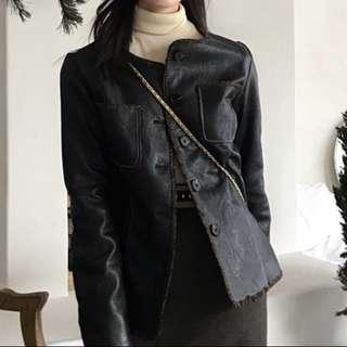 Black leather jacket -Winter coat-
