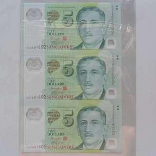 Singapore Polymer Portrait Series $5 Commemorative Note 3-in-1 Uncut Sheet