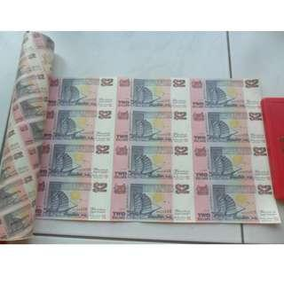 Singapore Ship Series $2 Commemorative Note 12-in-1 Uncut Sheet