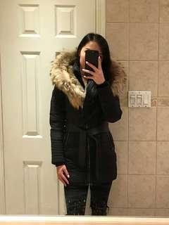 RUDSAK black 'Moda' belted- down fur-hooded jacket size XS