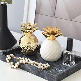 🚚 ins北歐風格創意家居桌面裝飾品陶瓷金菠蘿擺件現代客廳酒櫃擺設