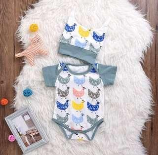 🚚 Instock - 2pc chick romper set, baby infant toddler girl boy