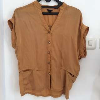 Atasan blouse coklat TOPSHOP