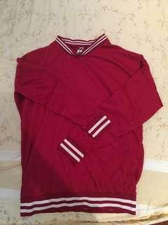 🚚 紅色圓領學生運動風滾邊上衣
