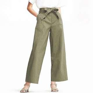 UNIQLO Belted Linen Cotton Olive Green Pants