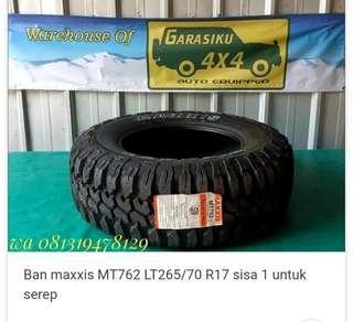 Ban Maxxis MT762 LT265 R17 sisa 1 untuk serep