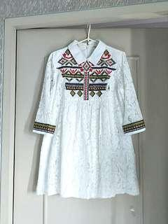 High-quality embroidered long blouse/minidress