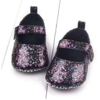 Baby Newborn Toddler Crib Soft PU Leather Glitter Glam Learner Walker Shoes - FREE DELIVERY!