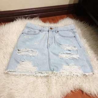 H&M Ripped Denim Mini Skirt