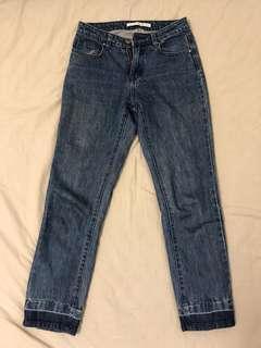 🚚 meierq丹寧深藍直筒牛仔褲 尺寸s約27腰