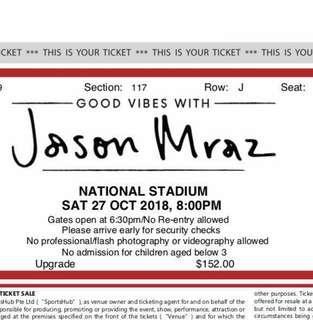 [BELOW FACE VALUE] Jason Mraz Cat 2 Section 117