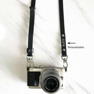 Black Minimalist Personalised Camera Strap Italian Leather Crossbody Custom Personalized Handmade Monogram Avaloncraft Skinny Strap