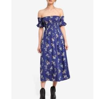 Factorie by zalora Flutter Shirred Midi Dress