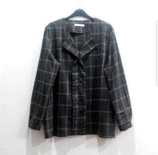 👉👉INstock plus size grey grid shirt long sleeves collarless checkered