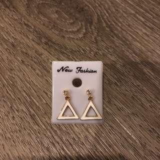 White Triangle Formal Earrings