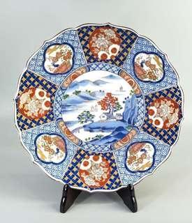 日本庫山窯花口印花大瓷盤