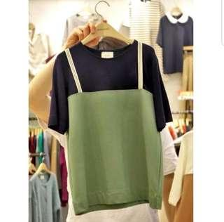 👉👉INSTOCK 5XL Plus Size (L~6XL) Fake 2 Piece Spagetti Black And Green Top Blouse