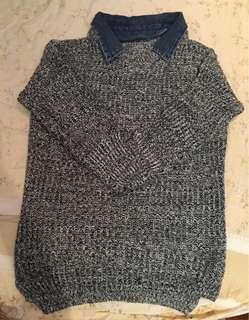 🚚 假兩件寬鬆針織灰色丹寧牛仔領子毛衣