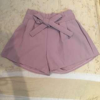 🚚 甜美粉色闊腿綁帶鬆緊短褲
