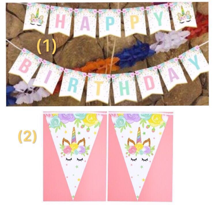 10 5 Happy Birthday Banner Bunting Unicorn Colourful Theme Party