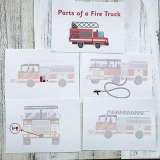 🚚 Flashcards Parts of Fire Truck (HEGURU, SHICHIDA, RIGHT BRAIN TRAINING) BRAND NEW Flashcards for right brain training