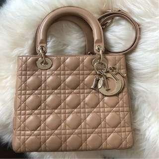 Lady Dior Medium Beige Lambskin with GHW